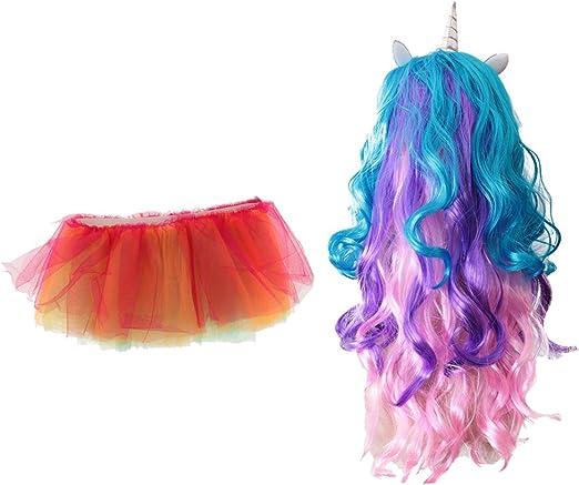 baoblaze peluca pelo Arcoíris Unicornio de niña + Glow in the ...