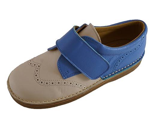 Eli - Mocasines de Piel para niño Beige Beige Blue, color Beige, talla 34 EU: Amazon.es: Zapatos y complementos
