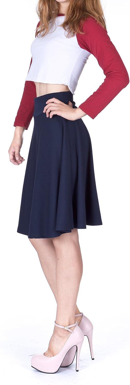Danis Choice Impeccable Elastic High Waist A-line Full Flared Swing Skater Knee Length Skirt