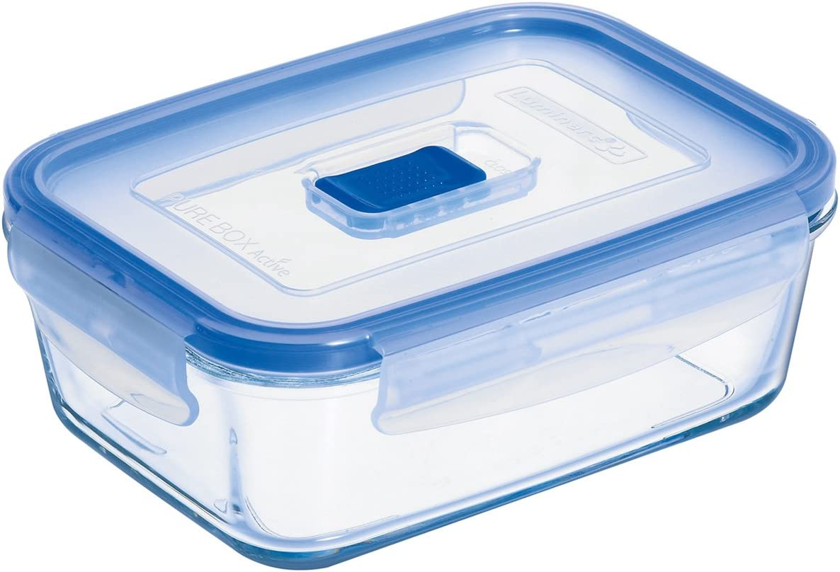 Arc International Luminarc 3.4-Cup Rectangle Pure Box Container with Lid, 6.8 by 5 by 2.3-Inch