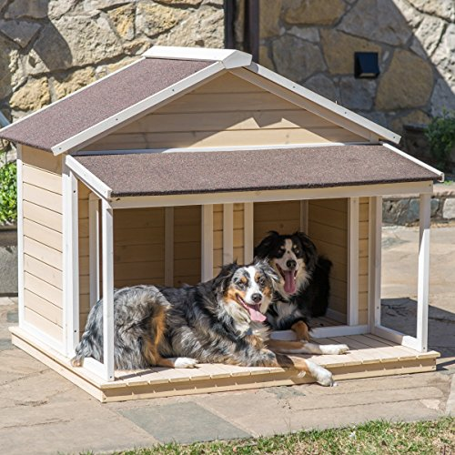 (Antique Large Dog House W Roof Solid Wood Penthouse Kennels Crates Duplex 51x43x43 W Balcony & Ez Entrance for Two Dogs. For Outdoor Dog Bed Has a Raised Bottom and Natural Insulation. White Wash)