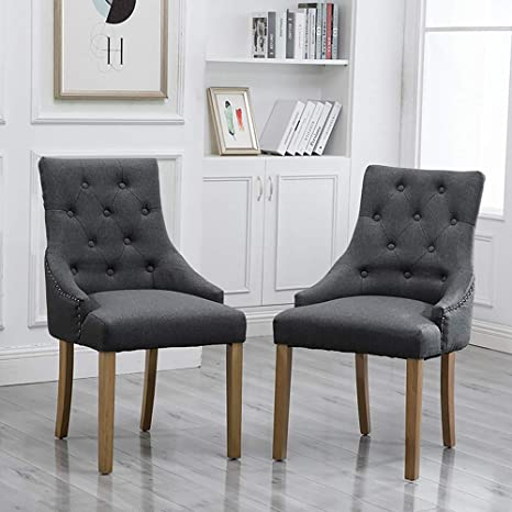 Amazon Com Huisenus Modern Dining Chair Upholstered Fabric With Button Padding For Living Room Dining Room Wedding Reception Restaurant Charcoal Armchair Set Of 2 Chairs