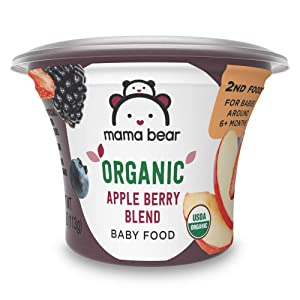 Amazon Brand - Mama Bear Organic Baby Food, Apple Berry Blend, 4 Ounce Tub, Pack of 12