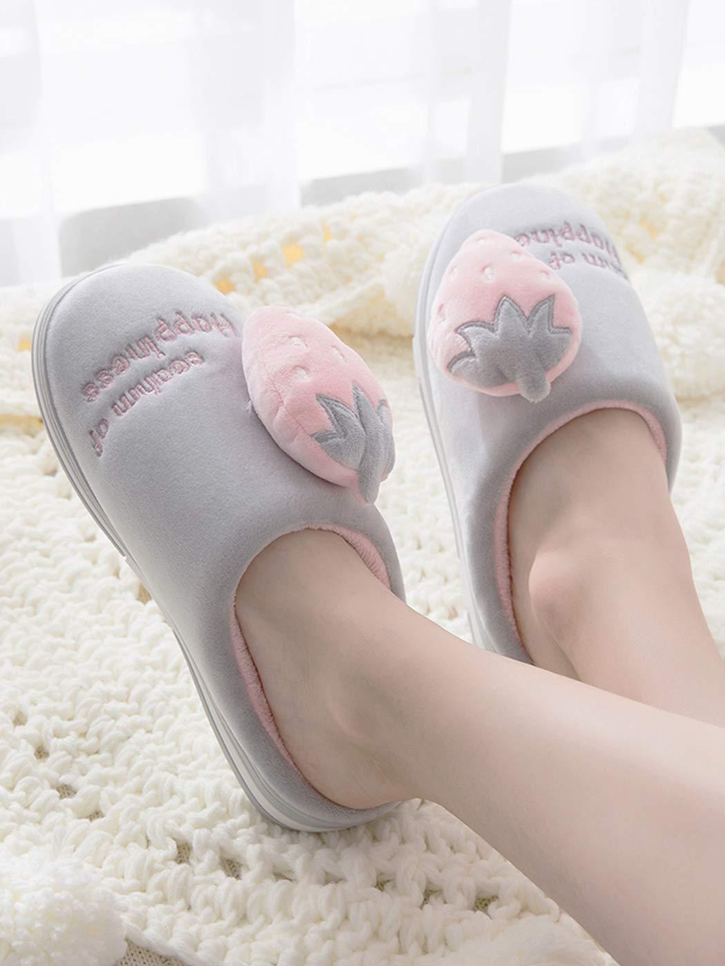 Nafanio Winter Women Home Slippers Strawberry Fashion Warm Shoes Woman Slip on Female Slides Black Pink Flats