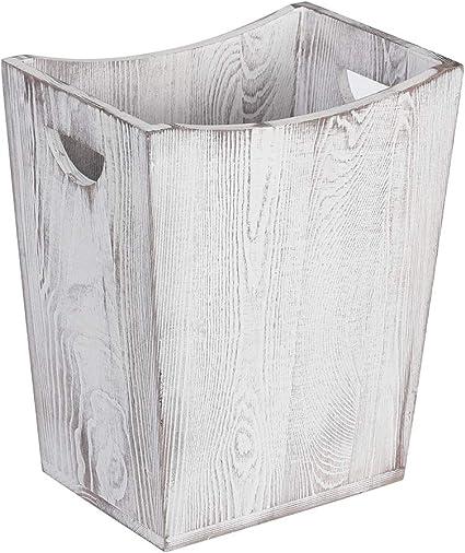 Haitral Papierkorb Holz Mulleimer Rustikaler Papierkorb Im Landhausstil Fur Schlafzimmer Wohnzimmer Buro Badezimmer Kuche Amazon De Kuche Haushalt