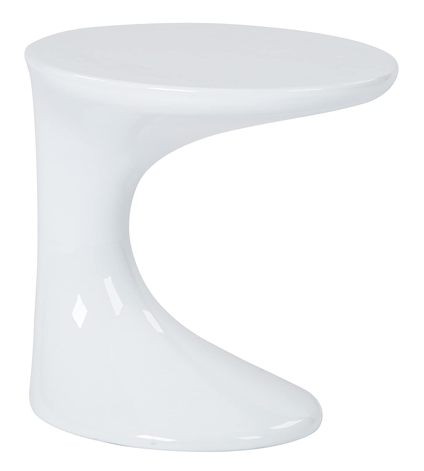 AVE SIX Slick High Gloss Finish Side Occasional Table, White