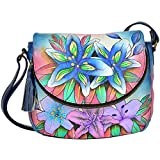 Anuschka Medium Flap Over Convertible Shoulder Bag, Luscious Lilies Denim, One Size