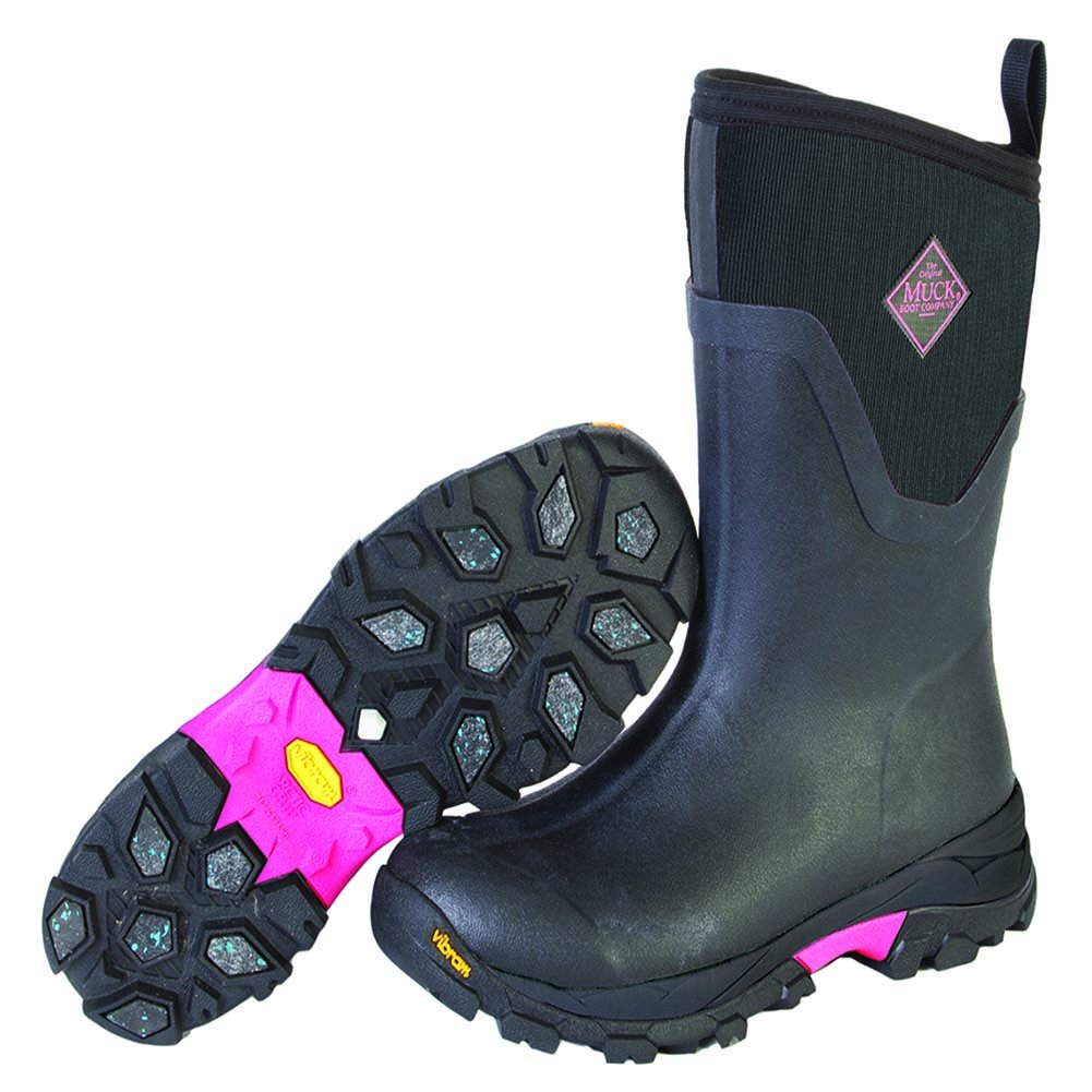 Muck Boot Women's Arctic Ice Mid Work Boot, Black/Pink, 6 M US