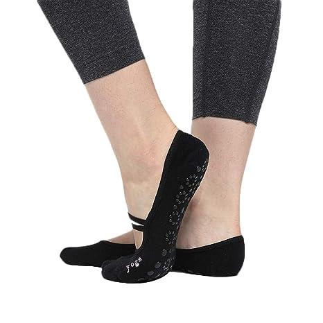 CAOLATOR.Calcetines de Yoga o Pilates Antideslizante Deporte Mujer Colchoneta Deporte Accesorios Calcetín para Ballet Barra Fitness Danza-Negro