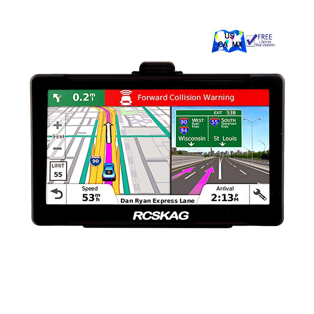 GPS Navigation for Car, Rcskag 7 inch 8GB-256MB GPS Navigation System, Spoken Turn- to-Turn Traffic Alert Vehicle Car GPS Navigator, Lifetime Free Map Updates