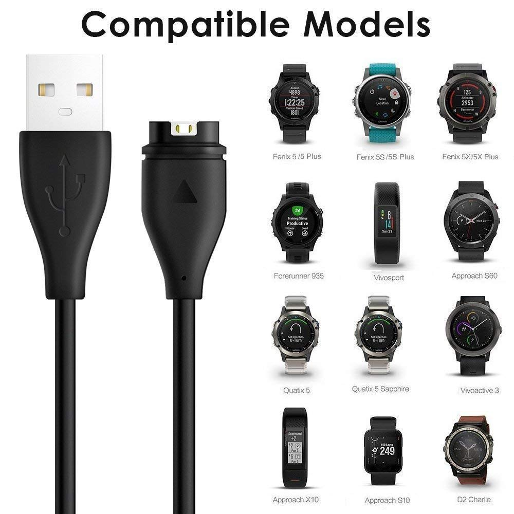 KIMILAR Compatible Garmin Vivoactive 3 // Fenix 5 // Forerunner 935 Cargador Cable Repuesto USB Sincronizaci/ón de Datos de Carga para Garmin Vivoactive 3//3 Music Forerunner 935 Fenix 5//5 Plus