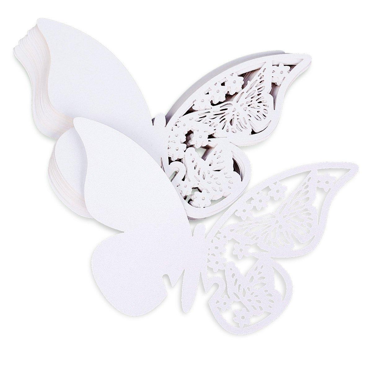 Sonline 20pcs Carte de verre Porte-Noms Marque-Places papillon #941 blanc mariage bapteme decoration