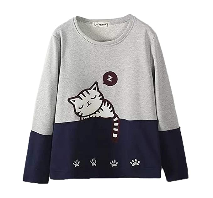 Primavera y Otoño Mujeres Sudaderas Joven Moda Cuello Redondo Manga Larga Blouses Sweatshirt Jumpers Suéter Casual Patchwork Bordado T-Shirt Tops Camisetas ...