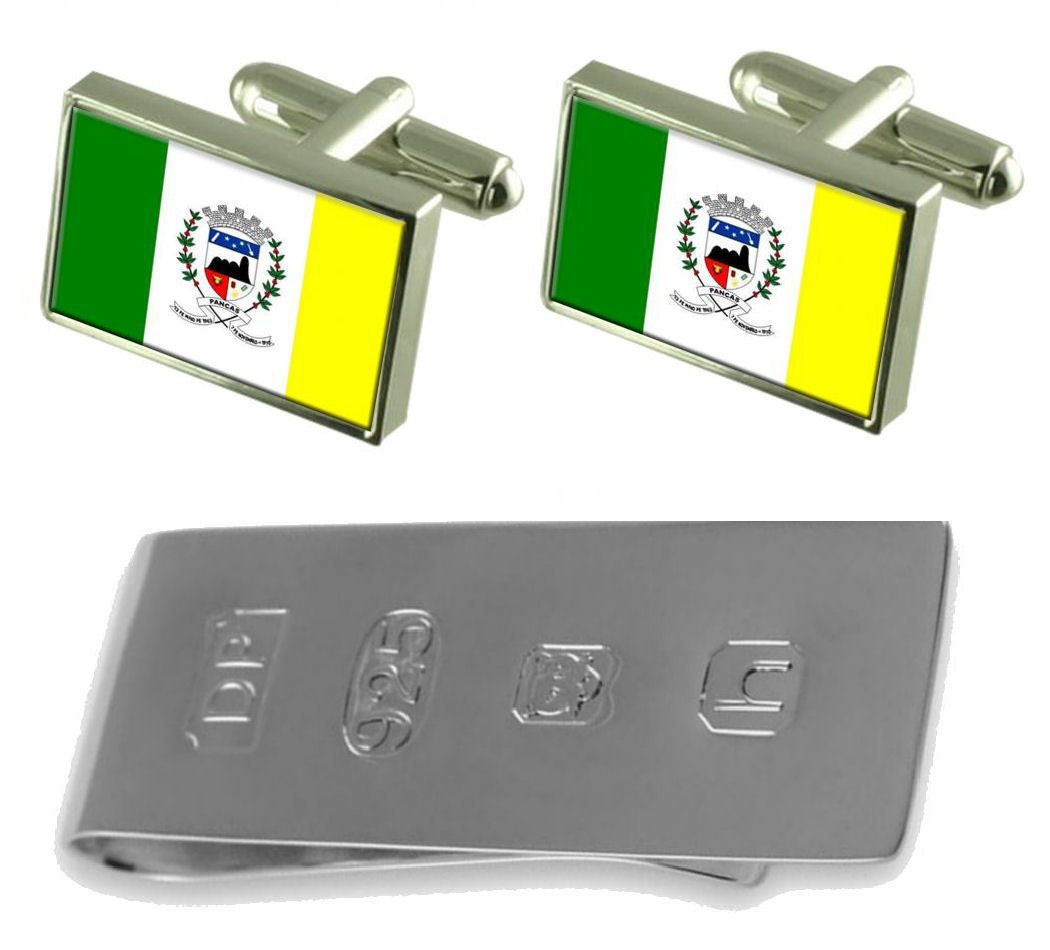 Pancas City Espirito Santo State Flag Cufflinks & James Bond Money Clip