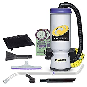 ProTeam Backpack Vacuums, Super CoachVac Commercial Backpack Vacuum Cleaner with HEPA Media Filtration and Small Business Tool Kit, 10 Quart, Corded
