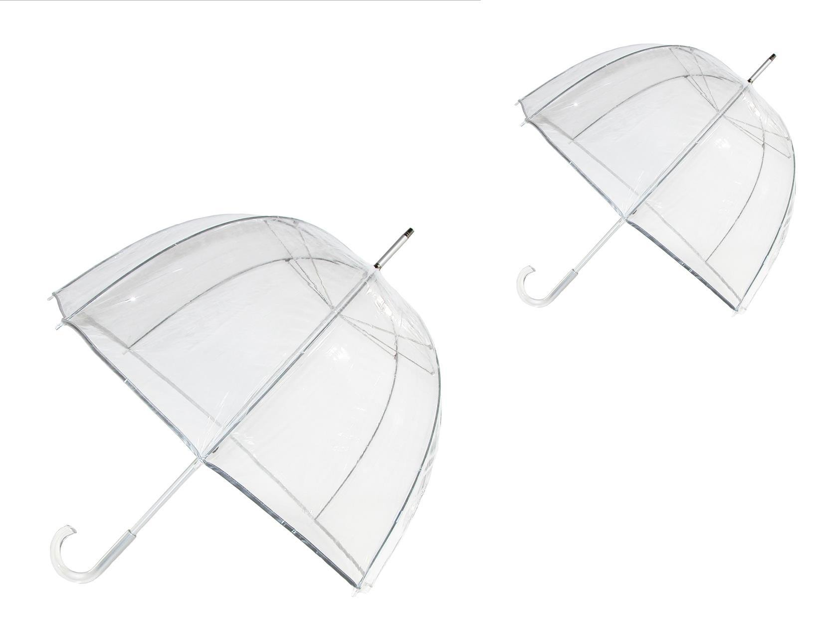 totes ISOTONER Classic Clear Dome Bubble Umbrella (Pack of 2), Clear and Clear