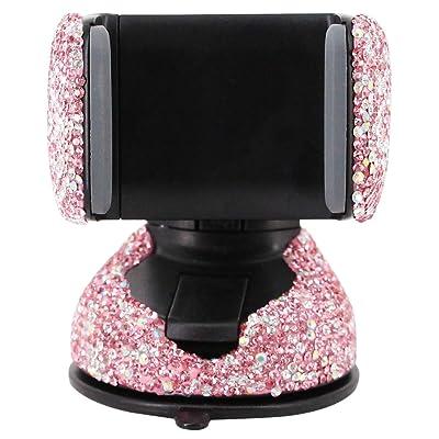 Radish Stars Adjustable Strong Sticky Dashboard Car Phone Mount Crystal Rhinestone Phone Holder