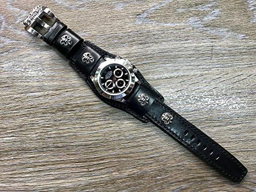 Cuff Strap, Chrome Heart, Leather watch band, Full bund strap, Cuff Watch band, Black, 20mm, Leather Watch Strap, Cuff band, FREE SHIPPING ()