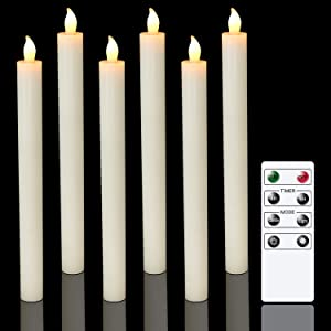Eldnacele Flameless Window Taper Candles with Remote Timer, Ivory LED Flickering Tapered Candles Battery Operated Set of 6 for Christmas Party Home Wedding Decoration