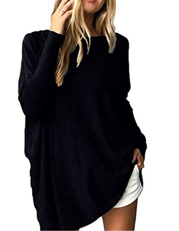 Beaii Damen Casual Lose Pullover Fledermaus Langarm Rundhals Sweatshirt Oversized Oberteil Tunika Tops