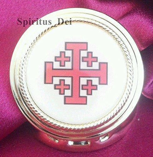 Jerusalem Pyx 10 Host Capacity Gold Finish with Epoxy Emblem Eucharist - 3 Store Stratford