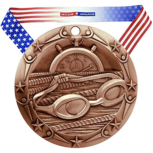 Decade Awards Swimming World Class Medal - Bronze | WCM Swimmer Third Place Award | Includes Stars and Stripes American Flag Neck Ribbon | 3 Inch Wide