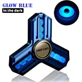 LION CITY Glow in The Dark Fidget Spinner Made by Aluminum Alloy, High Speed Low Noise Focus Toy with Replaceable Self-Lubricating Bearing, The Dark Knight, Matte Blue Finish with Blue Luminous Glow