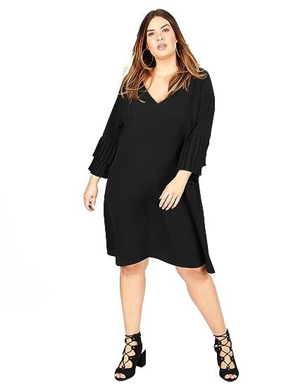 f475a78235f27 Lovedrobe GB Women s Plus Size Black Double Pleated Sleeve Shift Dress (16)