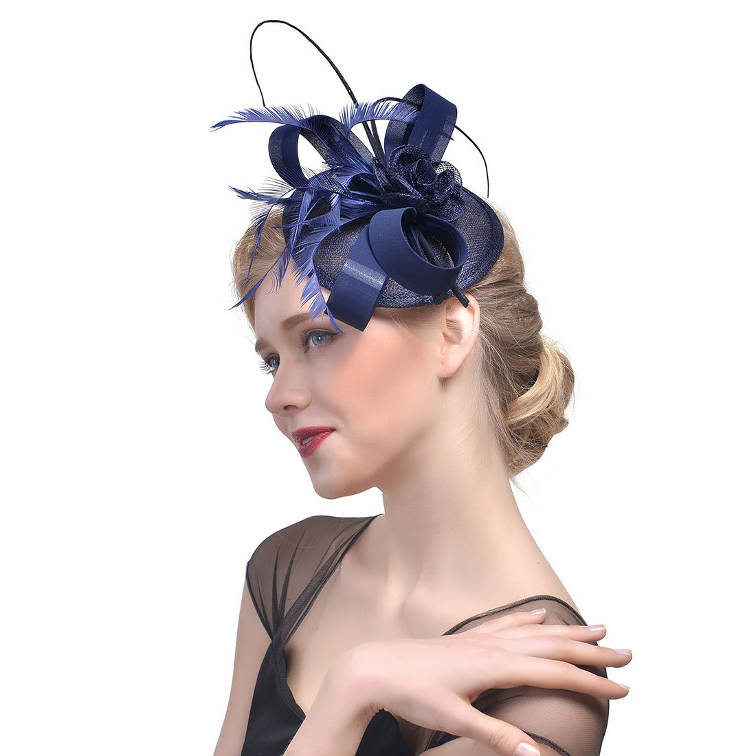 Zongsi Fascinators Hat Flower Mesh Feathers Hairpin Hat Clip Cocktail Tea Wedding Party Headwear for Girls and Women (Style 1, Navy Blue)
