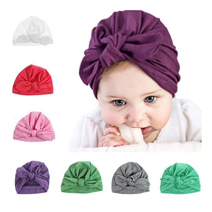 Yosang Infant Baby Girl Hat Newborn Turban Knot Rabbit Hospital Hat 7pcs 133f37599bf