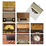 M2086 Radio Days: 10 Assorted Thank You Note Cards Showcasing Mid-Twentieth Century Vintage Radios, w/White Envelopes.