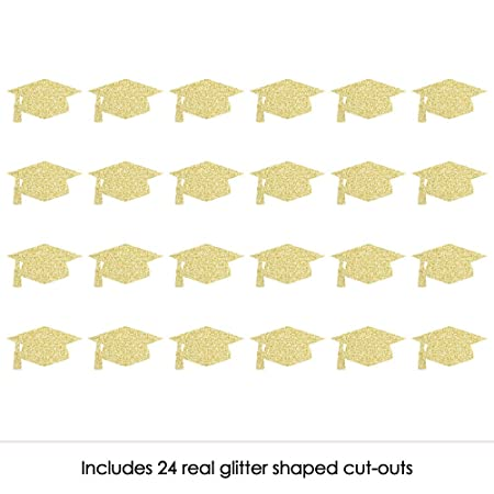 ede1be957f1e Amazon.com: Gold Glitter Grad Cap - No-Mess Real Gold Glitter Cut-Outs -  Graduation Party Confetti - Set of 24: Toys & Games