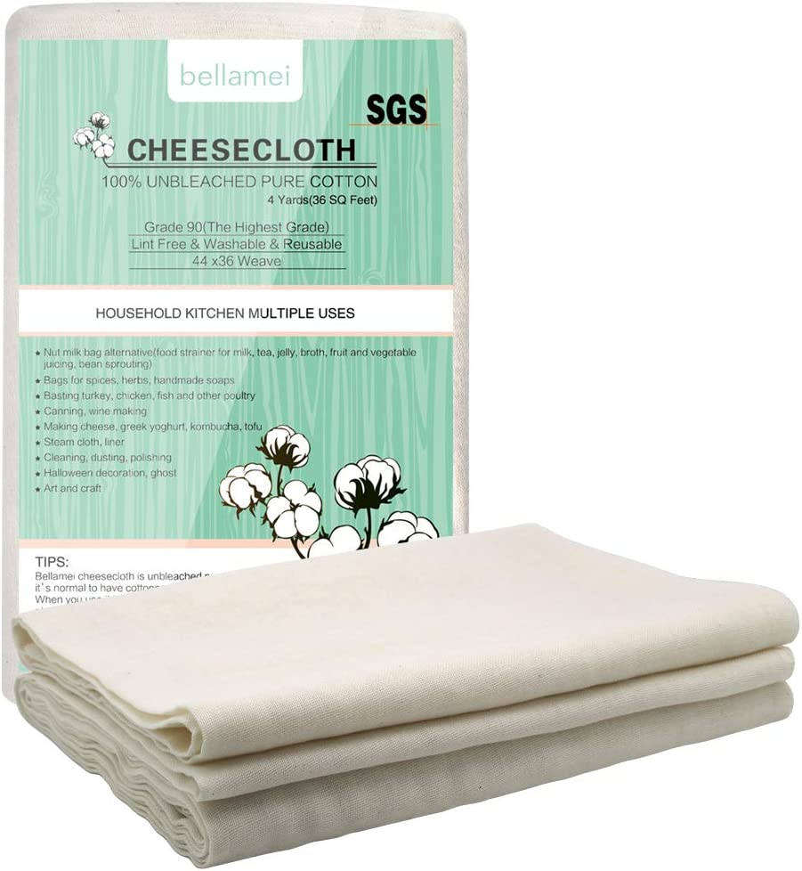 Bellamei Cheesecloth for Straining Grade 90 4 Yards 100% Unbleached Cotton Fabric Cheese Cloth,Washable and Reusable Butter Muslin Cloth Nut Milk Fruit Juice Yogurt Strainer Oil Bag Halloween