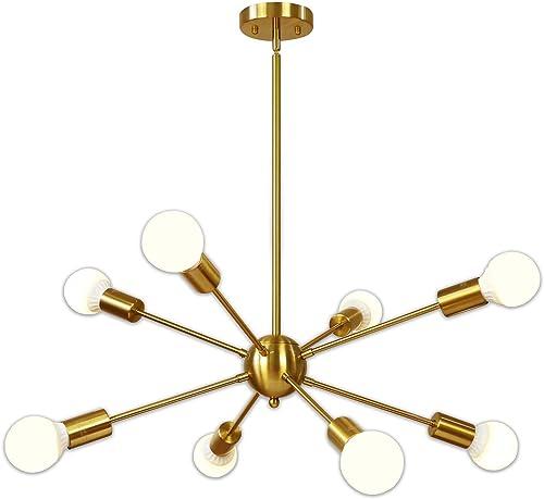 Sputnik Chandelier 8 Light Brushed Brass Pendant Lighting Gold Mid Century Modern Starburst-Style Ceiling Lighting Fixture