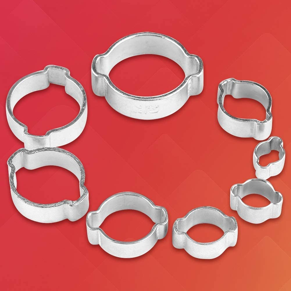 Size : 13-15mm Delaman 2-Ear Hose Clamp Zinc Plated Stainless Steel for Fuel Petrol Pipe Tube 5-23mm 10PCS 8Types