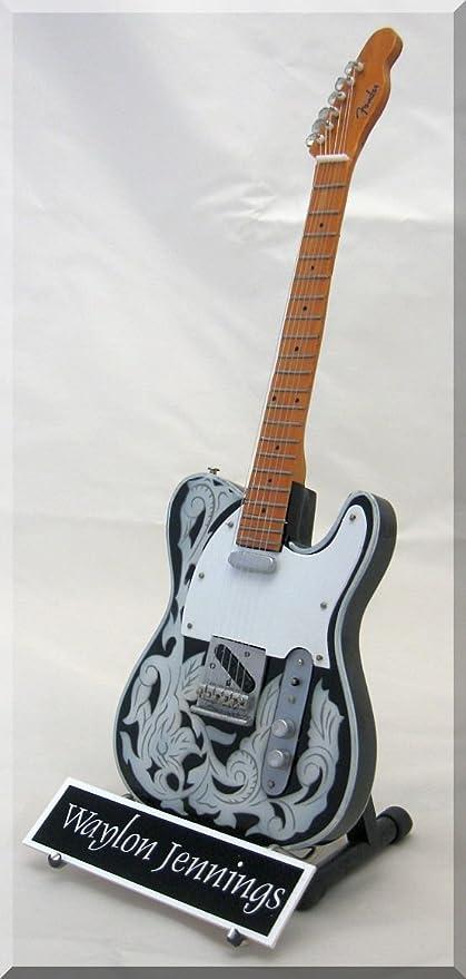 Waylon Jennings en miniatura guitarra Telecaster W/Nombre de ...