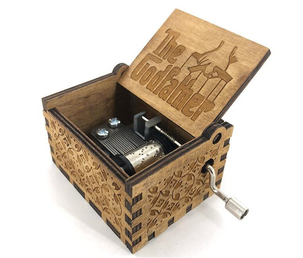 Cuzit The Godfather Wood Hand Crank Musical Box Hand Crank Toy Wooden Music Box