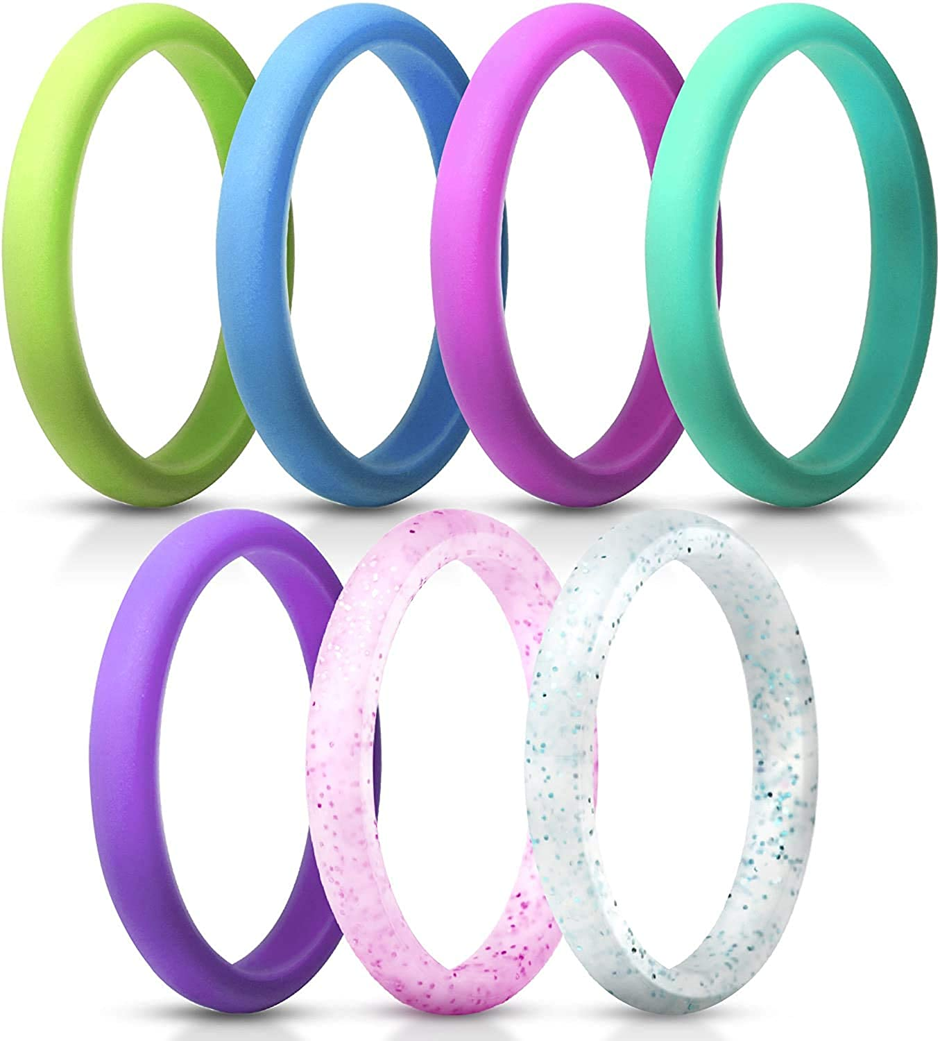 ThunderFit Women's Thin and Stackable Silicone Rings Wedding Bands - 2.5mm Width - 1.8mm Thick