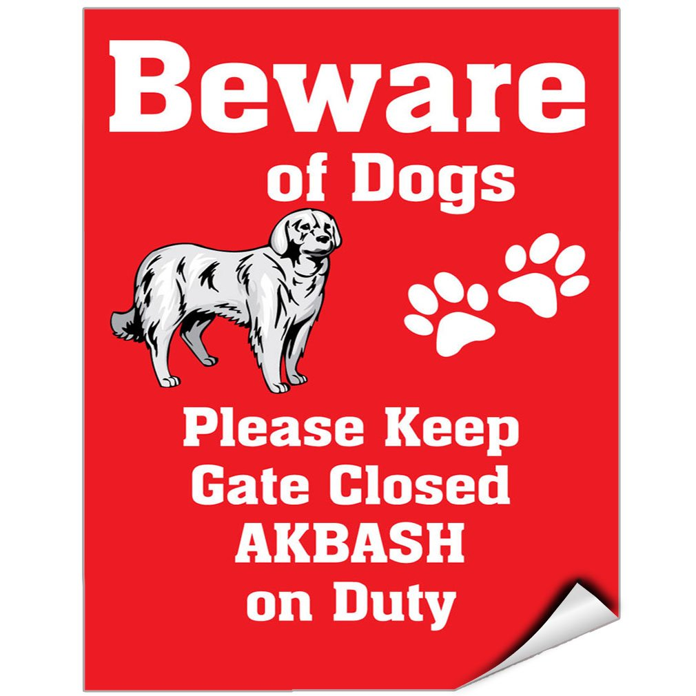 Beware Of Akbash Dog On Duty Vinyl LABEL DECAL STICKER 9 inches x 12 inches by Fastasticdeals