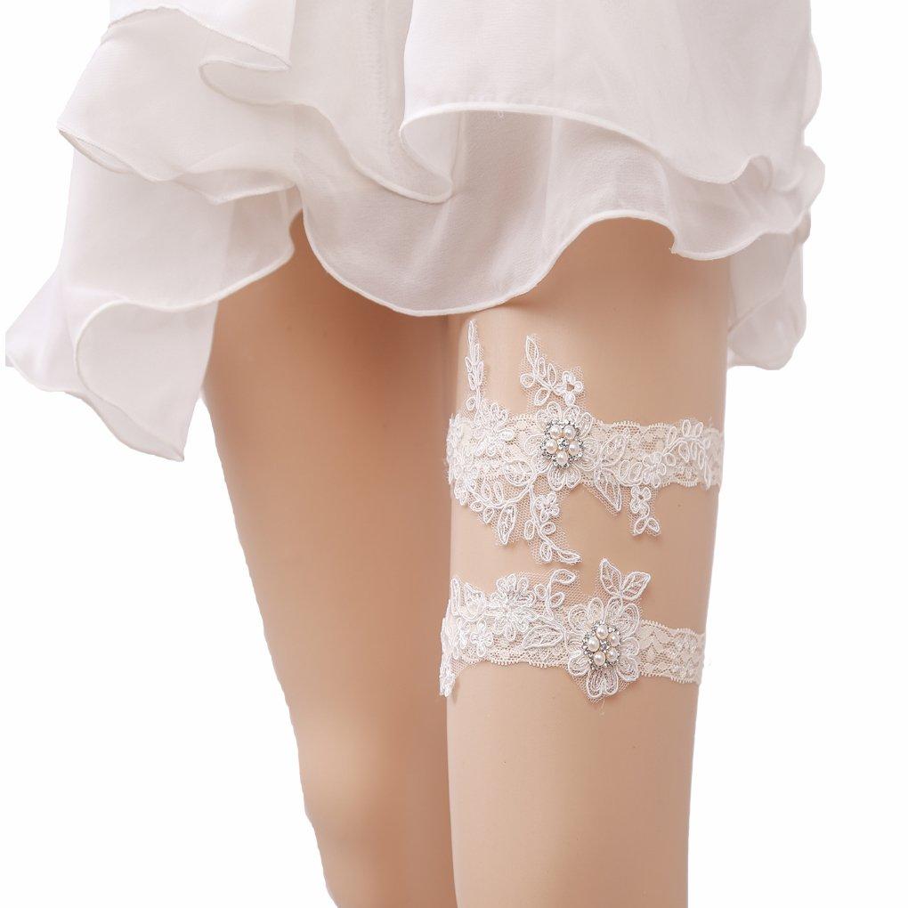 Bueer 2PC Wedding Bridal Lace Garter Set Keepsake Toss Tradition Vintage (1-Pearls and Sequins)