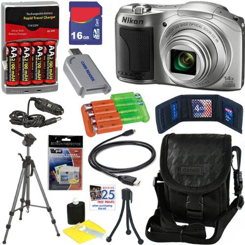 Nikon COOLPIX L610 16 MP Digital Camera with 14x Zoom NIKKOR Glass Lens and 3-inch LCD (Silver) + 4 AA Batteries with AC/DC Rapid Charger + 10pc Bundle 16GB Deluxe Accessory Kit, Best Gadgets