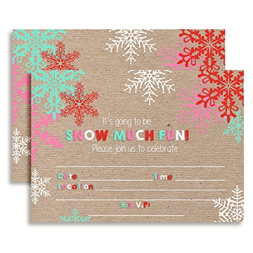 Snow Much Fun Snowflake Birthday Party Invitations, Ten 5