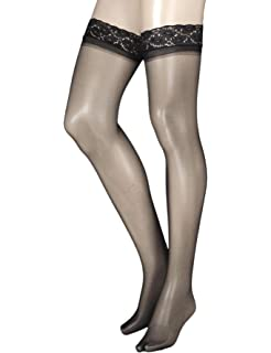 21674a36f Pretty Polly Women s Nylons - 10d Gloss Lace Top Hold Ups Tights ...