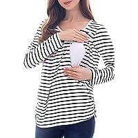 Owolar Camiseta Multifuncional de Lactancia Camiseta Top Mujeres Maternidad Manga Larga Rayas Camisetas de Lactancia para la Lactancia Materna