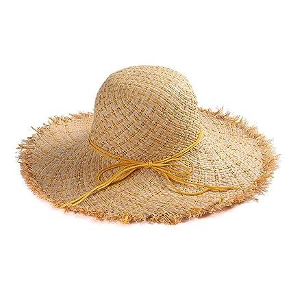 Yisaesa Sombrero de Paja de ala Grande Sombrero de Paja Sombrero de Playa  Plegable Grande de 91f5033e847