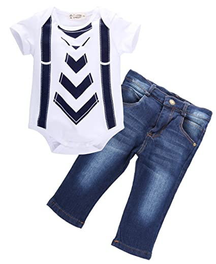 b1387a4ea7f56 Amazon.com: TheFound Baby Boy Tie Suspender Printed Bodysuit Jeans Pants  Birthday Outfit 24M: Clothing