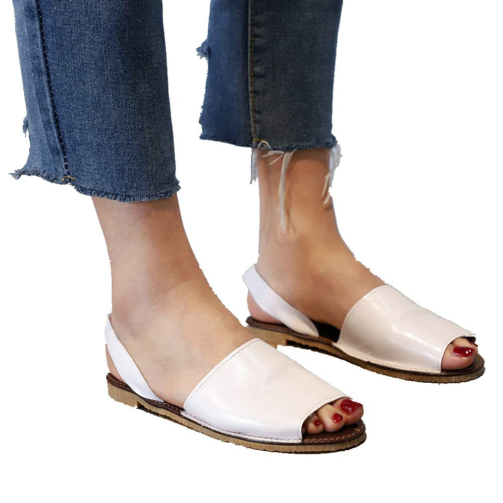 Womens Summer Classic Flats Sandals Ankle Strap Peep Toe Simple Comfortable Slippers Party Beach Shoes (US:6.5, White)