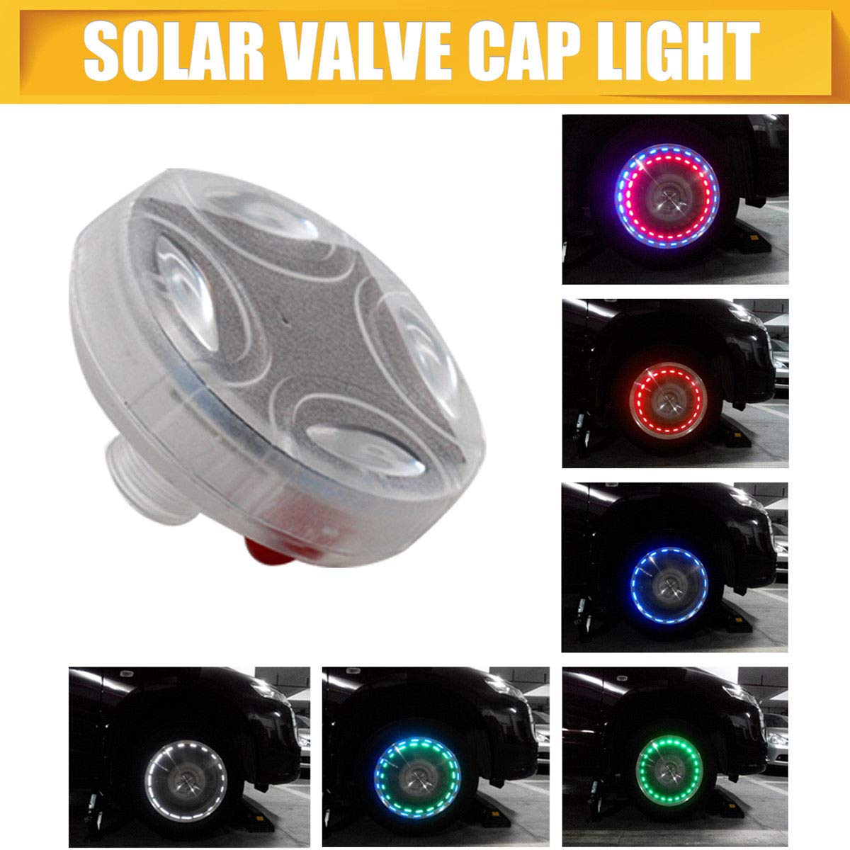 MASO Flash Wheel Light, Colorful LED Solar Wheel Hub Tire Lights, Tyre Valve Cap Strobe Lamp Waterproof Kit Four Modes for Car Vehicle Motorcycle Bike (American valve)