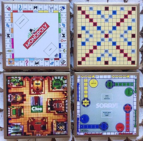 (Retro game board coasters with gold trim)