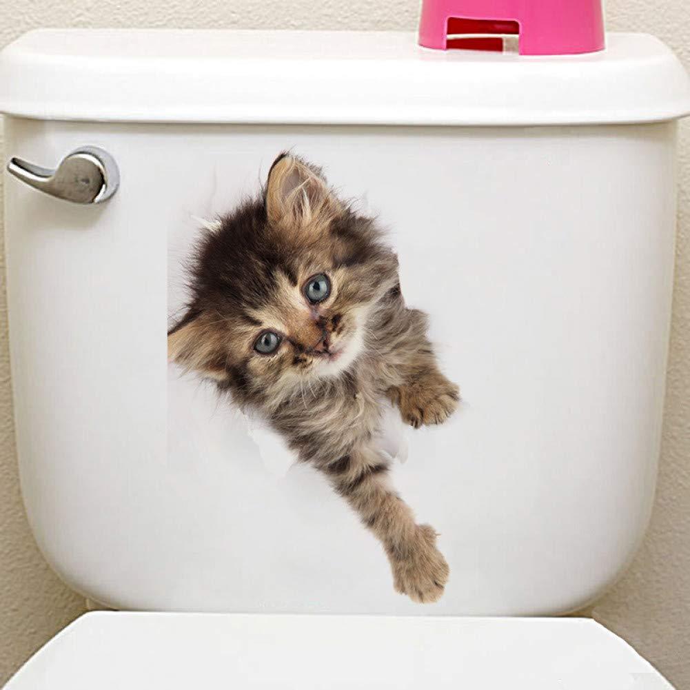 WYLYSD Adesivo per Coperchio WC Adesivo murale Gatto 3D Adesivo Toilette Bagno Decorazione Bagno Arte Animale Poster da Parete Toilette Divertenti Cartelli da Bagno Divertenti da Bagno